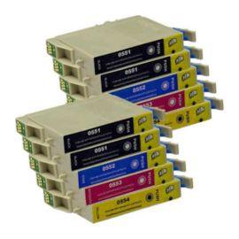 Pack 10 Cartucho de Tinta Compatible Epson T0551 T0552 T0553 T0554
