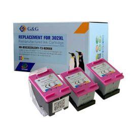 G&G HP 302XL Pack de 3 Cartuchos de Tinta Remanufacturado Tricolor
